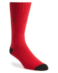 Polo Ralph Lauren | Red Rib Knit Socks for Men | Lyst