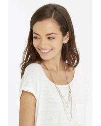 Oasis Metallic Facet And Multi Row Necklace