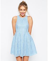 ASOS - Blue Bonded Lace High Neck Lantern Mini Dress - Lyst