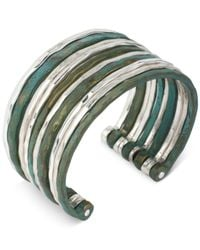 Robert Lee Morris - Metallic Silver-tone Patina Multi-row Cuff Bracelet - Lyst