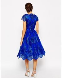 Chi Chi London - Blue Wrap Front Full Midi Prom Dress In Premium Metallic Lace - Lyst