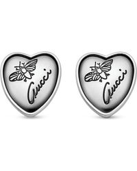 Gucci | Metallic Heart-shaped Sterling Silver Stud Earrings, Women's | Lyst
