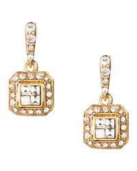 Carolee | Metallic Golden Dreams Deco Crystal Double Drop Pierced Earrings | Lyst
