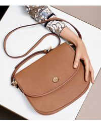 Tory Burch | Brown Robinson Pebbled Messenger | Lyst