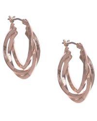Anne Klein | Metallic Rose Gold 3 Hoop Earrings | Lyst