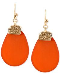 Kenneth Cole | Gold-tone Pavé Orange Organic Drop Earrings | Lyst