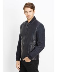 Vince Blue Quilted Leather and Suede Jacket  for men