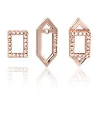 Astrid & Miyu - Pink Rectangle Ear Jacket In Rose Gold - Lyst
