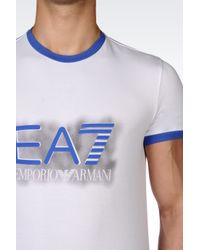 EA7 | White T-shirt In Stretch Cotton Jersey for Men | Lyst