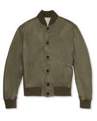 Officine Generale - Green Leather Bomber Jacket for Men - Lyst