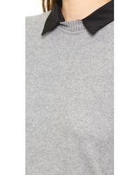 Three Dots Gray Sweater with Silk Collar Granite