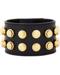 Saint Laurent Black Studded De Force Bracelet