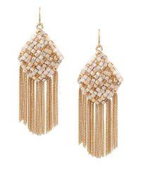 Kenneth Cole | Metallic Gold-tone Woven Fringe Earrings | Lyst