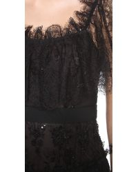 Marchesa - Black Embroidered Lace Tiered Gown - Lyst