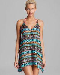 MILLY Blue Neon Aztec Flyaway V Neck Swim Cover Up Dress