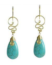 Aeravida | Blue Cute Turquoise Teardrop Brass Swirl Earrings | Lyst