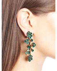 Oscar de la Renta - Multicolor Painted Rosebud Fil Coupe Gown Jade Swarovski Crystal Branch Earrings - Lyst