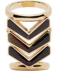 Balmain | Metallic Gold And Black Chevron Ring | Lyst