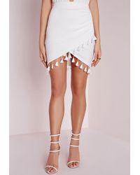 Missguided | Tassel Trim Wrap Mini Skirt White | Lyst