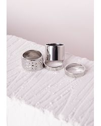 Missguided | Metallic Chunky And Thin Stacking Ring Set Silver | Lyst