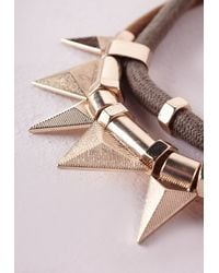 Missguided - Metallic Cord Statement Necklace Gold - Lyst