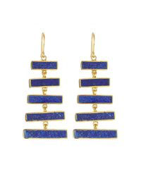 Pippa Small - Blue Gold Plated Silver Earrings With Lapis - Lyst