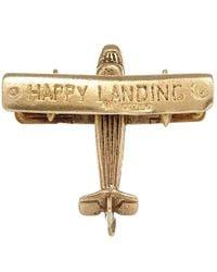Annina Vogel - Metallic Vintage Gold Happy Landing Aeroplane Charm - Lyst