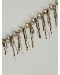 Samira 13 - Metallic Draped Chain And Pearl Necklace - Lyst