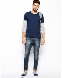 ASOS Blue Long Sleeve Tshirt with Double Layer for men