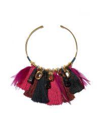 Lizzie Fortunato Metallic Crimson Tassel Collar Necklace