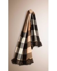Burberry Black Lace Trim Check Cashmere Scarf for men