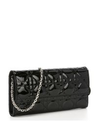 Dior - Black Cannage Patent Leather 'Lady Dior' Convertible Clutch - Lyst