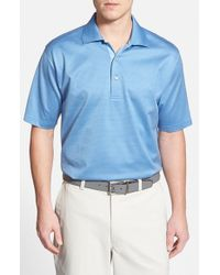 Peter Millar Blue 'jade' Jacquard Egyptian Cotton Lisle Polo for men