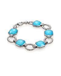 Lagos - Blue Turquoise Doublet Sterling Silver Link Bracelet - Lyst
