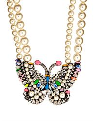 Shourouk | Multicolor Butterfly Crystal And Pearl Necklace | Lyst