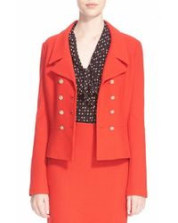 St. John | Red St. John 'spencer' Nouveau Boucle Knit Double Breasted Jacket | Lyst