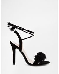 a135225cc4f7 Lyst - Daisy Street Black Pom Ghillie Lace Up Heeled Sandals in Black