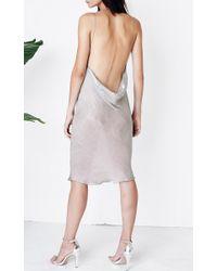 Kaelen Green Iridescent Satin Cowl Slip Dress