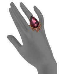 Oscar de la Renta | Metallic Pear Crystal Cocktail Ring | Lyst