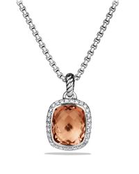 David Yurman | Metallic Noblesse Pendant With Morganite And Diamonds On Chain | Lyst