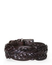 John Varvatos - Brown Braided Leather Cuff for Men - Lyst