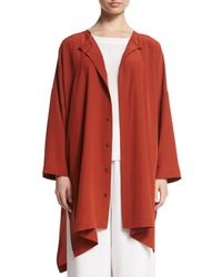 Eskandar - Brown Wide Silk Shirt Jacket - Lyst