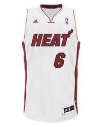 Adidas White Men's Miami Heat Lebron James Jersey for men