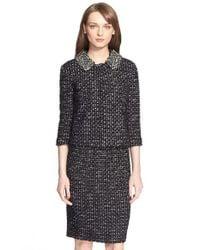 St. John - Black Embellished Tweed Knit Jacket - Lyst