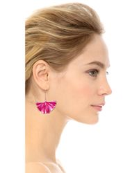 Aurelie Bidermann Purple Enameled Gingko Leaf Earrings Pivoine