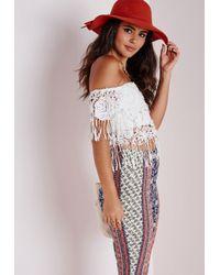 Missguided | Bardot Crochet Tassel Top White | Lyst