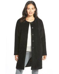 Eileen Fisher Black Wool & Alpaca Blend Collarless Coat