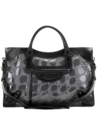 Balenciaga Black Classic City Embossed Patent Leather Tote