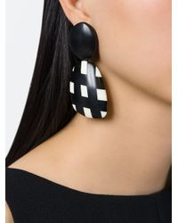 Monies - Black Checked Pendant Earrings - Lyst