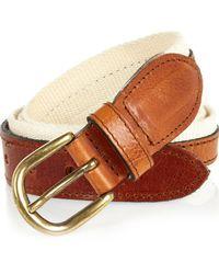 River Island Natural Ecru Leather And Canvas Belt for men